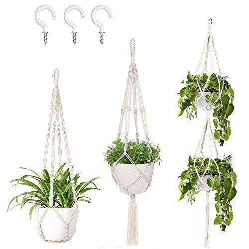 AerWo 3 Pack Macrame Plant Hangers Indoor Wall Hanging Planters+ 3 PCS Hooks, Handmade Hanging Plant Holder Basket Stand Flower Pot Holder for Indoor Outdoor Boho Home Decor(4 Legs, 3 Sizes)