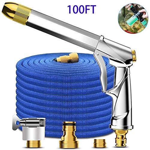 Tuinslang, telescopische tuinslang, 3-functie-sproeikop hogedruk-langpolig waterpistool-set, voor het bewateren van planten, reinigen, auto (maat: 25/50/75 / 100ft) 100 ft (100 feet).