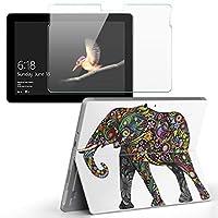igsticker Surface Go/Surface Go 2 専用スキンシール ガラスフィルム セット 液晶保護 フィルム ステッカー アクセサリー 保護 006335 アニマル 象 動物 花 フラワー