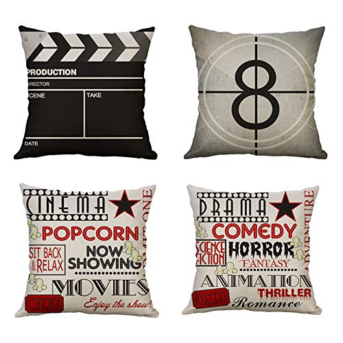 MIULEE Pack of 4 Cinema Film Movie Linen Cushion Covers Decorative Square Throw Pillow Case Pillowcases for Couch Living Room Sofa Bed with Invisible Zipper 45cm x 45cm,18x18 Inches