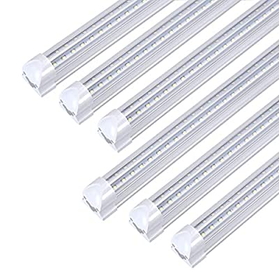 8FT LED Light Fixtures 72W, 8FT LED Shop Light 5000K Daylight White Dual Side T8 V-Shape Integrated 8 Foot LED Tube Lights(150W Fluorescent Light Equivalent), 8640Lm, Clear Cover (6 Pack)