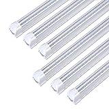 8FT LED Light Fixtures 72W, 8FT LED Shop Light 6000K Cool White Dual Side T8 V-Shape Integrated 8 Foot LED Tube Lights(150W Fluorescent Light Equivalent), 8640Lm, Clear Cover (6 Pack)