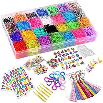 DasKid 12100+ Rubber Bands Refill Loom Set 11,000+ Loom Bands 42 Colors 600 Clips 200 Beads + 52 ABC Beads 30 Charms 10 Backpack Hooks 10 Tassels 5 Crochet Hooks 5 Hair Clips +ABC & Number Stickers