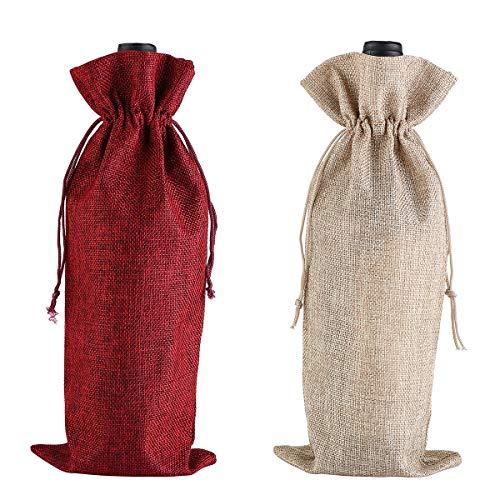 Bolsa de vino de arpillera, con cordones, a prueba de polvo, reutilizable, 2 unidades (rojo, color primario)