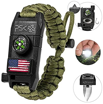 PSK Paracord Bracelet 8-in-1 Personal Survival Kit Urban & Outdoors Survival Knife, Fire Starter, Glass Breaker, Survival Whistle, Signal Mirror, Fishing Hook & String, Compass (Green USA Flag)