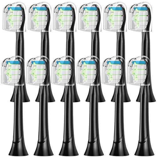 ITECHNIK Genérico DiamondBrush Black Cabezales de Cepillo para HX6064 Black Cabezales Compatible con Phillips SonicCepillo Eléctrico, 12 Pcs