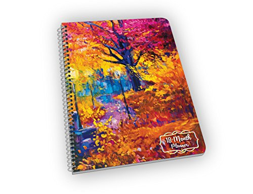 Undated 18-Month Planner with Autumn Leaves Over a Bridge - Great Gift for Mom, Grandma, Sister and Aunt! - Undated 6.6 x 9 inches