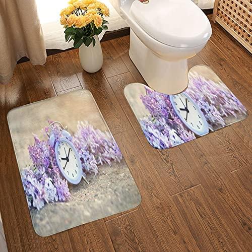 GUVICINIR Juego de 2 Alfombrillas de baño Antideslizantes Alfombra de baño,Reloj Hora de Alarma Lila Flores Antiguas en la Naturaleza Abstracta Ejecutando Ahorro de Enfoque,alfombras y Alfombrillas