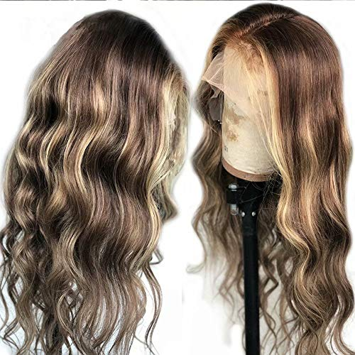 Oulaer Highlight Ombre Blonde Loose Wave Human Hair Wig 13x6 Lace for Black Women Pre Plucked Brazilian Virgin Hair with Baby Hair Curly Glueless Natural Hairline Wigs 150 Density 20 Inch