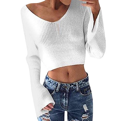 HHei_K Womens Sexy Solid Color Knitting Long Sleeve V Neck Loose Cropped Tops Sweater White
