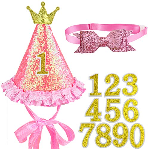 Glittery Dog Cat Pet Birthday Hat in Pink and Bowtie Collar (A, Pink 2)