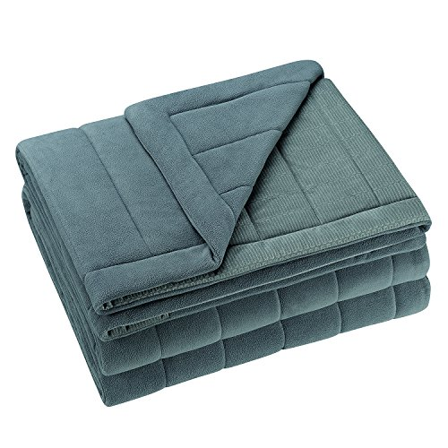 Cozy Soft Fleece Filled Bed Blanket - w/Thermal Coil Warm Body Heat Radiating Technology - King - Gray