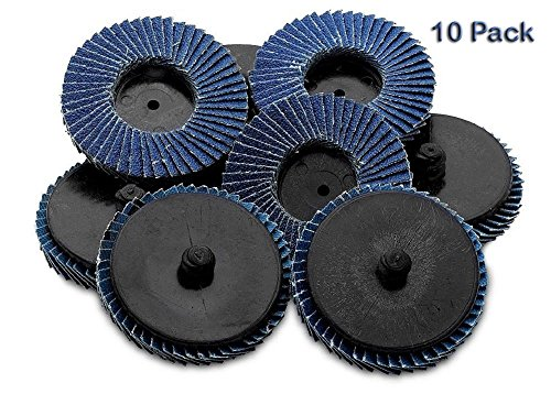 Flap Discs 60 Grit 10 Pieces 2'' -Quick Change Grinding Wheels - For Rotary Tools, Die Grinder, Drill, Blending And Finishing Applications, By Katzco.