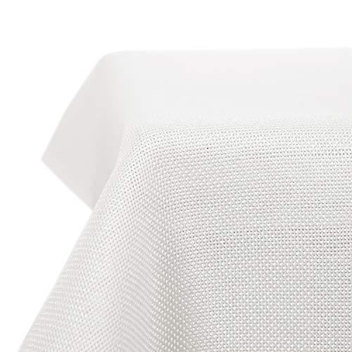 Deconovo Nappe de Tables Rectangulaire Effet Lin Imperméable Anti-tâche pour Salle à Manger 130x160 cm Blanc