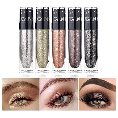 UCANBE 5pcs Set Glitter Shimmer Liquid Eye Shadow Waterproof Liquid Eyeshadow Kit Long Lasting Metal Sparkling Matte Eye Makeup