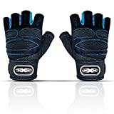 Workout Gloves for Men & Women, Gym Weight Lifting Gloves with Wrist Wrap Support, Breathable & Non-Slip, Full Palm Protection, Great for Fitness Exercise,Training, Crossfit (Black&Blue, Medium)