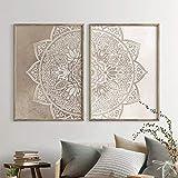 xwwnzdq 2 Piezas Mandala Arte de la Pared Pintura de la Lona Colores neutros Yoga Posters y Grabados Zen Wall Pictures for Living Room Decoración para el hogar