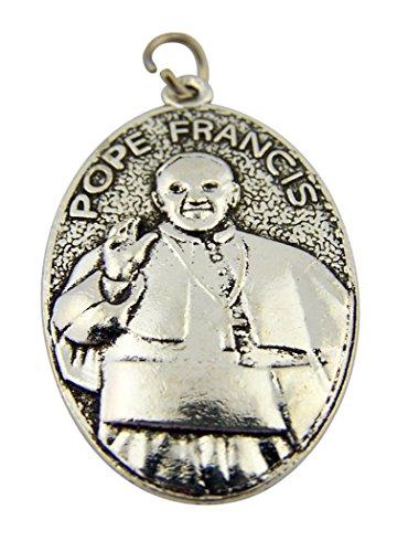 Religious Gifts Plata Tono Papa Francis con Medalla de San Francisco de Asís, 13/4Pulgadas