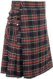 YiwenXN Faldas escocesas de Uso General para Hombres Falda de Festival Plisada Irregular a Cuadros Escoceses e irlandeses Tradicionales