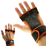 Mava Sports Workout Gloves with Wrist Wraps Support and Full Palm Silicone Padding. Perfect for Weight Lifting, Powerlifting, Pull Ups, WOD and Cross Training for Men and Women - Orange - Large