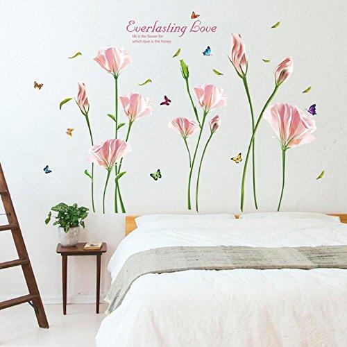 Etiqueta de la pared ZOZOSO Florales Pegatinas De Pared Tv Sofá Fondo Pintura Decorativa Pvc Extraíble Pegatinas De Pared Limpiables