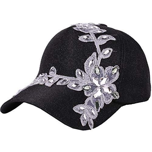 VECOLE Run Cap Fashion Strass Flower Baseballmütze Faltbare, verstellbare für Draussen, Sport und Reisen(Schwarz)