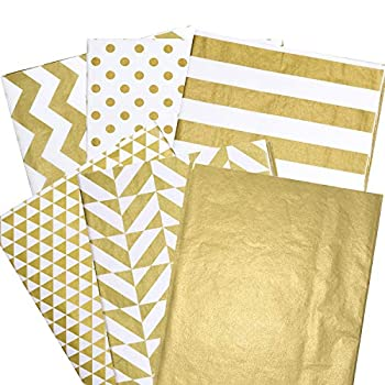 Whaline Metallic Tissue Paper 180 Sheets Gold Tissue Paper Bulk Metallic Gift Wrapping Paper for Christmas Home Kitchen Birthday Party Arts Crafts DIY Weddings Bridal Showers