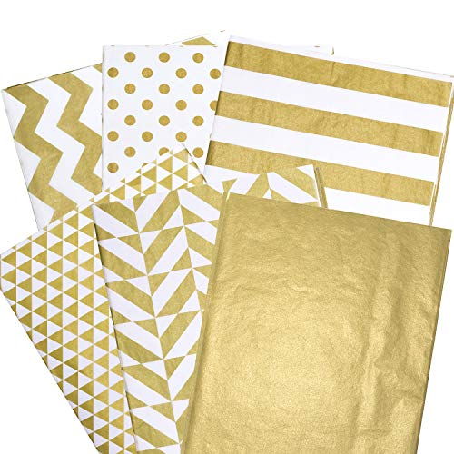 Whaline 180 Sheets Gold Tissue Paper Bulk, Metallic Gift Wrapping Paper for Home, Kitchen, Birthday Party, Arts Crafts, DIY, Weddings, Bridal Showers