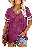 Grace's Secret Women's V Neck T Shirt Color Block Short Sleeve Summer Casual Tunic Top,Red,M
