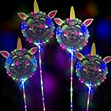 4Pcs LED Leuchtende Luftballons,Led Helium Ballons mit Ständer,LED Luftballons Bunte Ballons,Led Helium Ballons,Party Ballons für Hochzeit Party,Geburtstag,Feierlichkeiten Party Luftballons mit Stab