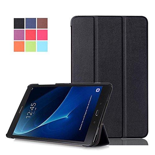 DETUOSI Galaxy Tab A6 Hülle 10.1 Case, Ultra Slim PU Leder Tasche und Flip Etui für Samsung Galaxy Tab A (2016) SM-T580N/T585N 25,54cm (10,1 Zoll) Schutzhülle Smart Cover mit Holder Stand (Schwarz)