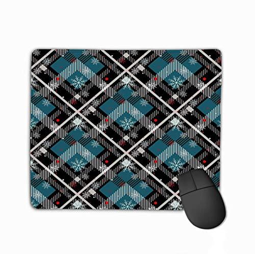 Benutzerdefinierte Mauspad, einzigartige gedruckte Mausmatte Design Tartan Hintergrund rot schwarz blau beige weiß kariert Schneeflocke Tartan Flanell Hemd Muster Trendy Tartan Natur