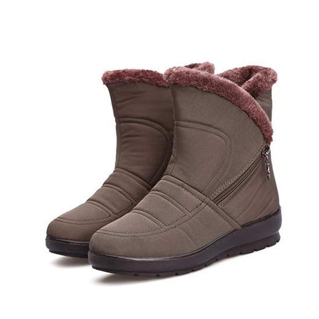 格納期間学校教育[WOOYOO] スノーブーツ レディース 雪靴 ムートンブーツ 防滑 大きいサイズ サイドジップ 婦人靴 ミドルカット 厚底靴 撥水加工 ふわふわ 防滑 ウェッジヒール 美脚 カジュアル 冬 軽量 ブラック