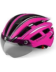Lixada Fietshelm met Goggles Afneembare UV Beschermende Mountainbike Helm met Magnetisch Vizier en Achterlicht voor Mannen Vrouwen