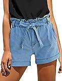 Lookbook Store Summen Jean Shorts High Waist Rolled Cuffed Hem Stretchy Elastic Waist Denim Shorts Heritage Blue Size L