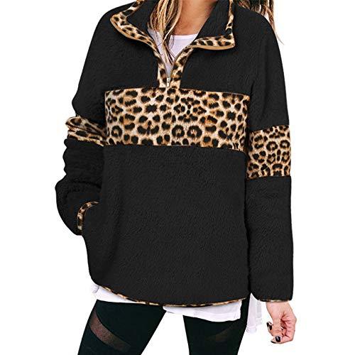 AIORNIY Damenpullover Langarm Elegant Damen Tops Winter Fleece Mit Leopardenmuster Liling Oberteile Herbst Sexy Bluse Frauen