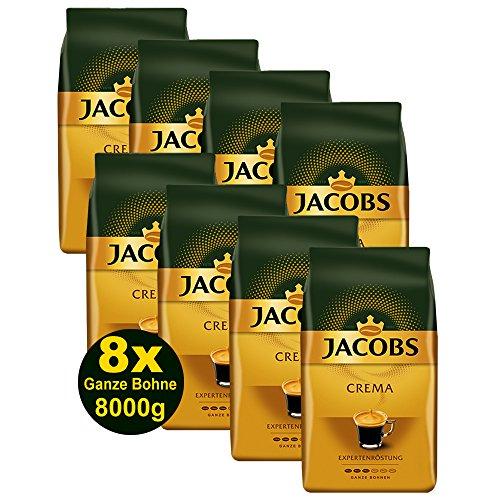 Jacobs Kaffee CREMA Expertenröstung Ganze Bohne 8x1000g (8000g) - Ausgewählte Kaffeesorten!
