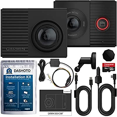 Garmin Tandem Dash Cam Parking Mode Bundle | Dual Lens with Interior Night Vision, 180 Degree Viewing Angle | Parking Mode Cable and Installation Kit Included