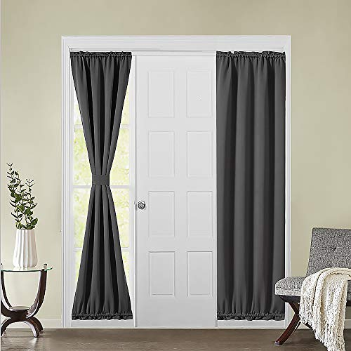 MIULEE Sidelight French Door Blackout Curtain Thermal Insulated Drapes Light Blocking Window Treatment Curtain for Narrow Glass Door Rod Pocket with Tieback 25 inch by 72 inch Grey 1 Panel