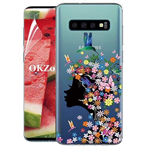 OKZone Cover Galaxy S10 Plus [con Pellicola Proteggi Schermo], Custodia Gel Trasparente Morbida Silicone Sottile TPU Cover Protettiva Compatibile con Samsung Galaxy S10 Plus (Ragazza)
