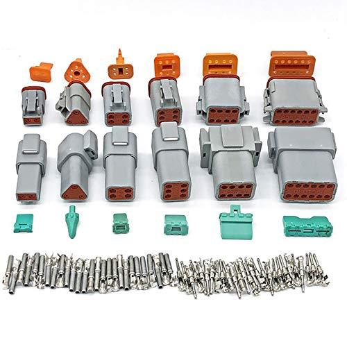 DEDC Conector Eléctrico Impermeable para Coche DT 2 3, 4, 6, 8 12 Pines, Conector de Cable Conector de Cable Eléctrico Sellado Gris Macho y Hembra