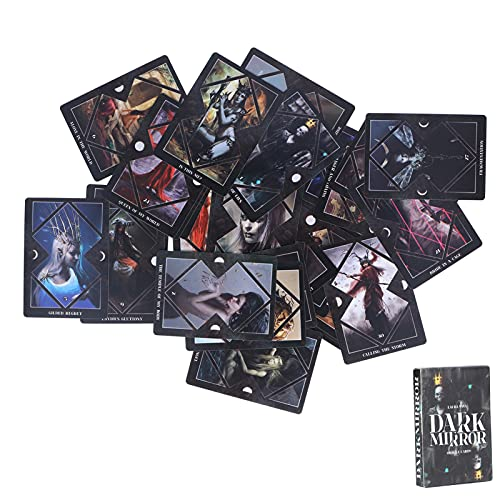 logozoee Dark Mirror Tarot-Karten, englischsprachige Wahrsagekarten, unbekannte Wahrsagekarten Schicksals-Wahrsagungskarten-Deck Interaktion Wahrsagerei Spielkarten Brettspiel für Kinder Andults