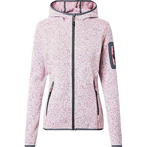 CMP – F.LLI Campagnolo Damen Knit Tech Polyester-Strickfleecejacke mit Kapuze Fleecejacke, Pink Fluo Mel-Graffite, D44
