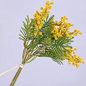 Qussion 6 PCS Artificial Acacia Yellow Mimosa Plush Cherry Silk Fake Flower for Wedding Home Decoration (Color : Yellow)