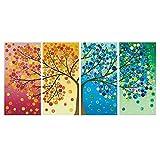 Karen Max Giclée-Druck Modulares Wandbild 4-teilig schöne Bunte Vier Jahreszeiten Baum Gemälde Wand Kunst Modular Leinwand Bilder Size 3:16x24inchx2,16x32inchx2,16x40inchx1 Frame