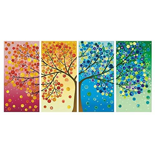 Karen Max Giclée-Druck Modulares Wandbild 4-teilig schöne Bunte Vier Jahreszeiten Baum Gemälde Wand Kunst Modular Leinwand Bilder Size 1:40x80cmx4Frame