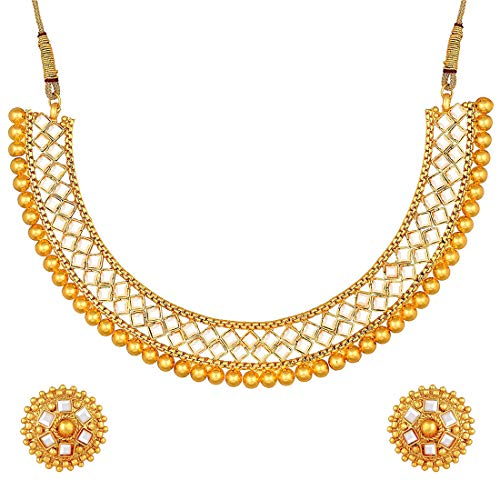 Aheli - Collar étnico con tachuelas de piedra sintética de tono dorado con pendientes de bollywood indio para mujer