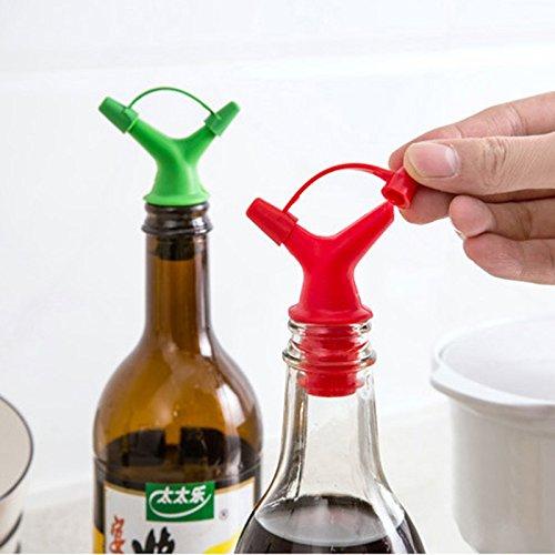 Chnrong Doble deflector líquido boquilla 1pc botella de aceite de soja tapón de boca tapón de vino tapón de salsa de vino verter tapas de botella (color aleatorio)