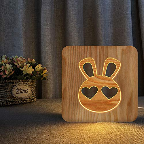 Lindo conejo esquelético USB lámpara de escritorio LED de madera lámpara de escritorio dormitorio cabecera de la noche, la decoración del hogar creativo lámpara de mesa, Novio Regalo