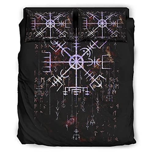 Annlotte Set di 4 lenzuola Vegvisir Nordic Compass copriletto set accogliente morbido antimacchia per la casa camera da letto bianco 228 x 228 cm